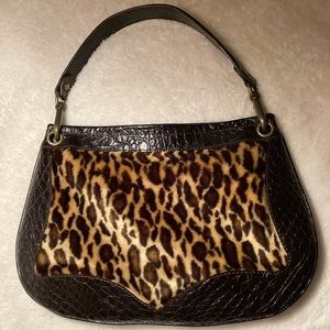 Desmo Leather Handbag with Faux Leopard Fur
